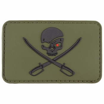 Patch Klettabzeichen 3D Skull with Swords, Piraten oliv