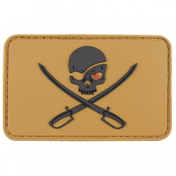 Patch Klettabzeichen 3D Skull with Swords, Piraten coyote tan