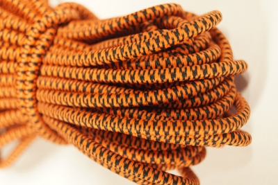 Flexcord Tigerstripes 4mm Schwarz / Orange (Meterware)