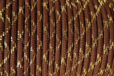Paracord 550 Metallic Glitter Chocolate Brown Gold Tracer X Type III