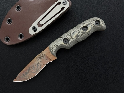 Dawson Knives Deep Notch Skinner Copper Finish tan black