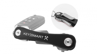 KeySmart Aluminum Compact Key Organizer, Belt Clip - Black Rugged