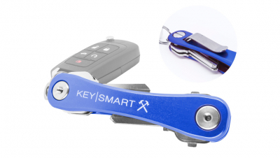 KeySmart Aluminum Compact Key Organizer, Belt Clip - Blue Rugged