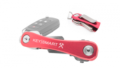 KeySmart Aluminum Compact Key Organizer, Belt Clip - Red Rugged