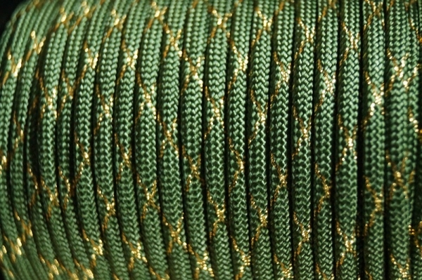 Paracord 550 Metallic Glitter Fern Green Gold Tracer X Type III